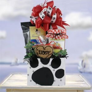 Dog CHRISTMAS Gift Basket with Elegant Hand Tied Bow