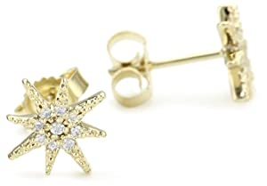Mizuki Petite Gold and Diamond Star Earrings