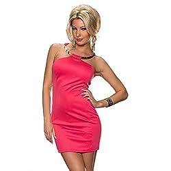 Jaune Metal Neck Ring Halter Dress - Pink