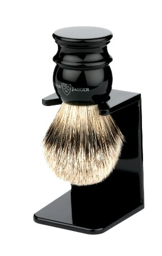 Edwin Jagger Handmade Imitation Ebony English Shaving Brush (silver Tip Badger Hair) With Drip Stand 3ej466lds