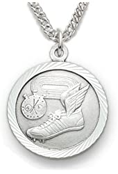 """.925 Sterling Silver Track Medal Pendant St. Christopher on Back 3/4"""" Sports Patron comes with a 20'' chain Pendant Necklace in a deluxe velvet box"""
