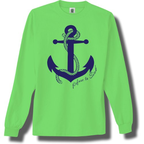 Refuse To Sink Bright Neon Green Adult Long Sleeve T-Shirt - Large