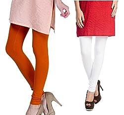 Rupa Softline Orange and White Cotton Leggings Combo (Pack Of 2)