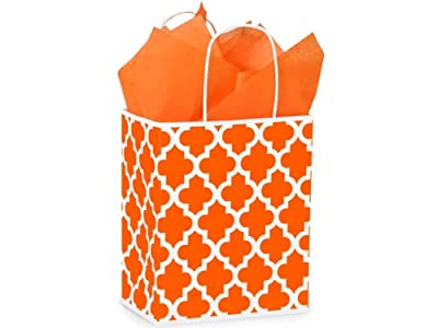 Medium Orange Geo Graphics Recycled Paper Bag - Package of 5