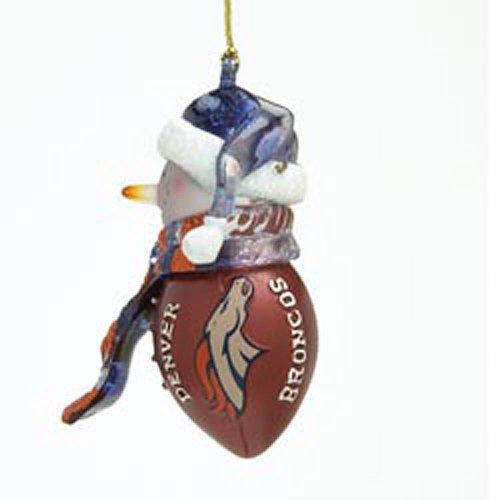 "Nfl 2.75"" Striped Acrylic Snowman Football Ornament (Set Of 4) Nfl Team: Denver Broncos"