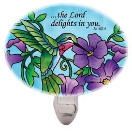 Nightlight-NL272R-Hummingbird & Purple Flowers//?the Lord delights in you. - 1