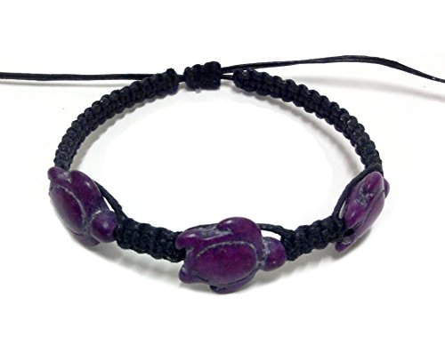 [Turtle Hemp Bracelet - Black Bracelet with 3 Turquoise Turtles - Hawaiian Sea color Purple] (Dance Moms Amber Alert Costumes)