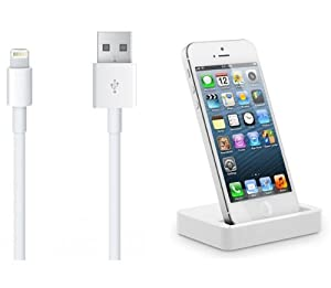 Original DinKli Dockingstation Ladegerät Ladekabel Lightning Kabel Datenkabel USB Kabel für das iPhone 5 5S 5C in weiß - Ladestation / Tischladestation - iPod Touch 5 Generation, iPod Nano 7 Generation iOS7 kompatibel