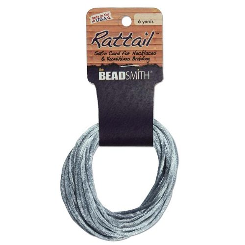 2mm Satin Rattail Braiding Cord Silver 6 Yards For Kumihimo and Craft 420211