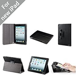 Acase iPad 3 Case / Cover (Apple iPad 4 / iPad 3 / iPad 2 / New iPad) - Premium Micro Fiber Leather Case and Flip Stand with Stylus Holder - 100% Support Sleep & Awake for iPad (BLACK)