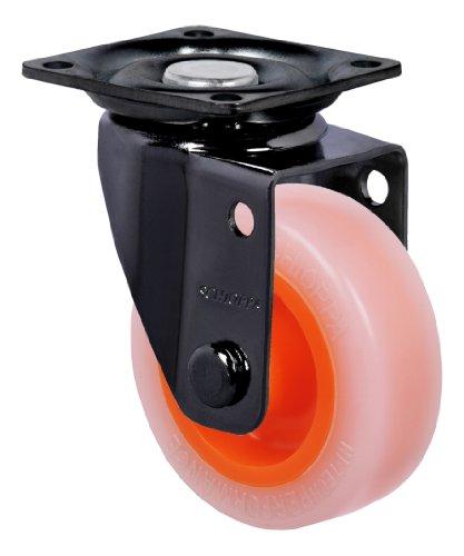 "Schioppa, Glap 210 Citrus Orange-Br, 2"" (50 Mm) Swivel, Non-Brake, Non-Marking Polyethylene Whl, 90 Lbs, Plate: 1-21/32 X 1-21/32"" (Bh 1-1/4 X 1-1/4"") front-387487"