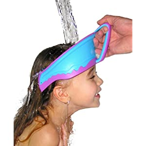 Image: Lil Rinser Splashguard - soft rim contours fit smoothly yet snuggly against a child's head and channels water and soap away from sensitive areas