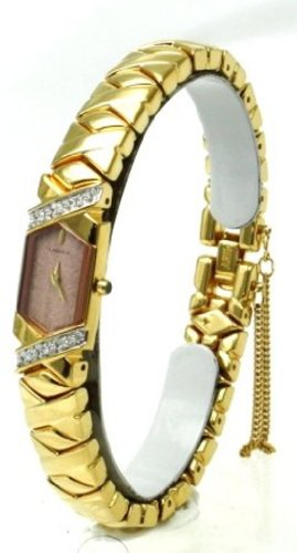 Lassale Watches- Seiko's Top of the Line Sapphire Crystal 23K Gold Finish Diamonds and a Safety Chain Women's Watch
