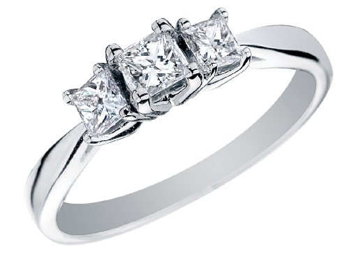 Price Comparisons Princess Cut Diamond Engagement Ring and Three Stone Anniversary Ring 1/2 Carat (ctw) in 14K White Gold, Size 6.5