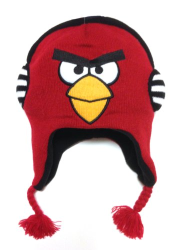 Angry Bird Official Licensed Puffy Headphone Red Peruvian Knitted Beanie Hat For Kids