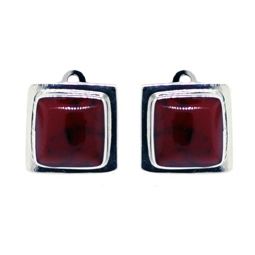 Sterling Silver Red Jasper Inlay Square Clip-On Earrings