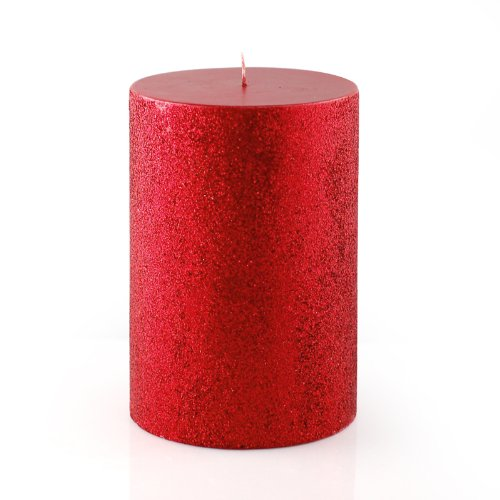4 x 6 metallic red glitter pillar candle for Shimmer pillar candle