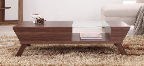Furniture Of America Eva Coffee Table With Storage, Walnut