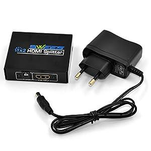 Swees® 2 Voies HDMI Switch Splitter Switch Hub Multi Box 1x2 Port 1 entrée 2 sorties 3D - HD (1 Input x 2 Output) 1080P Full HD hdmi splitter 1,3b - Amplifier Multiplier 2 télévision, Ecrans Diviseur hdmi Nouveau Version 1,3b- 3D Blu-Ray Player PS3 PS4 Xbox 360 HDTV DVD PC