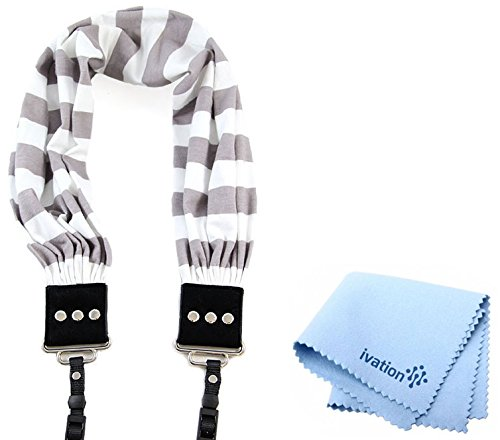 Capturing Couture Grey Stripe Scarf Super Comfortable Camera Strap and a Bonus Ivation Spot Cleaning Cloth