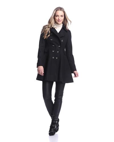 Via Spiga Women's Double-Breasted Wool Skating Coat  [Black]