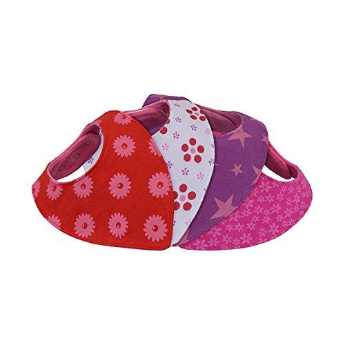 Dreieckstuch saugstark und weich - Viererset - mit passgenauer Größeneinstellung über 6 nickelfreie Druckknöpfe - doppellagig - dekorative Geschenk-Verpackung - Lätzchen Bandana Halstuch - Spucktücher für Baby und Kinder (Süße Blümchen)
