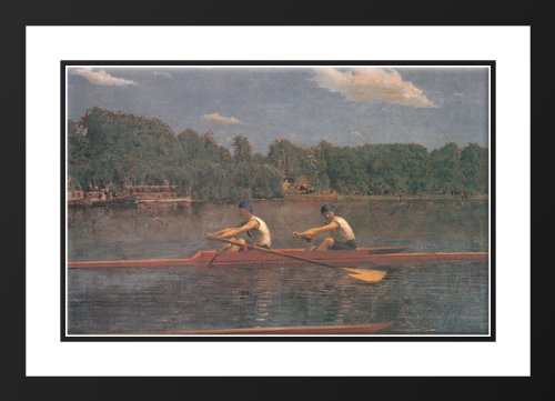 The Biglin Brothers Racing 25x29 Framed and Double Matted Art Print by Eakins, Thomas (Biglin Brothers compare prices)