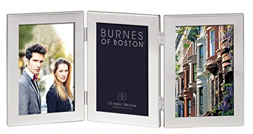 Burnes of Boston C53346 Triple Hnged Picture Frame, 4-Inch by 6-Inch, Brushed Silver (Burnes Of Boston Picture Frames compare prices)