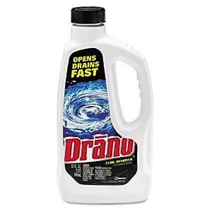 Drano Liquid Drain Cleaner - 32-Oz. Safety Cap Bottle, 12/Carton