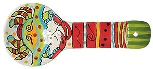 Caffco International Dana Wittmann Ceramic Spoon Rest, Green and Red Crab by Caffco International