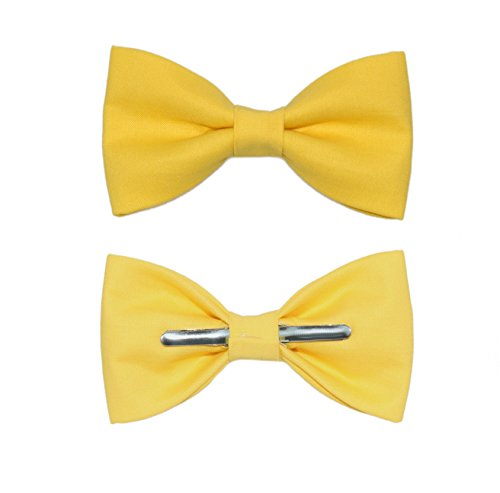 Boys Canary Yellow Clip On Bow Tie Bowtie