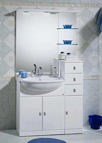 Mobile Arredo Bagno cm 70+30 con lavabo semincasso bianco lucido con top in marmo Mobili