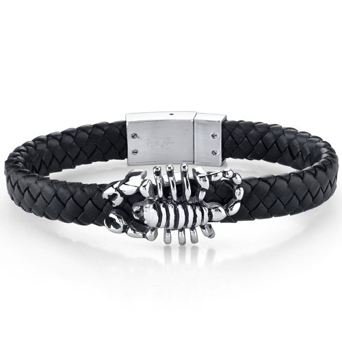 Mens Contemporary Black Woven Leather Bracelet with Scorpion Motif Free Shipping