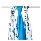 XKKO Spirals&Bubbles - Pack de 3 muselinas de bamb�, espirales y burbujas azules, 70 x 70 cm, 90 gramos