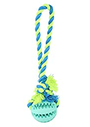 wangstar Dog Ball Toy Dog Dental Chew Rope Toy, Dog Rubber Treat Holder Ball Dog Chew Rope Ball Pet Tug Toy for Small to Medium Dogs Training Playing Fetching (blue)