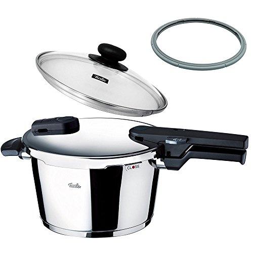 【セット買い】フィスラー 圧力鍋 IH 対応 4.5L 鍋蓋 付 ビタクイック モノ レシピブック付き + パッキン 圧力鍋 部品 22cm