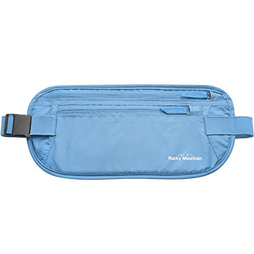 The Ultimate Travel Money Belt, Secure Waist Pouch, Undercover Fanny Pack, Passport Holder, Hidden Wallet - Rocky Mountain Deluxe. Protect your valuables in style! 365 Days 100% Satisfaction Guarantee. (Sky Blue)