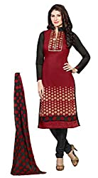 Siya Fashion women's Chanderi Party Wear Unstitched Dress Material(si22_Maroon color)