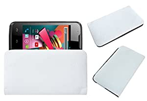 Acm Rich Leather Soft Case For Karbonn A5 Turbo Mobile Handpouch Cover Carry White