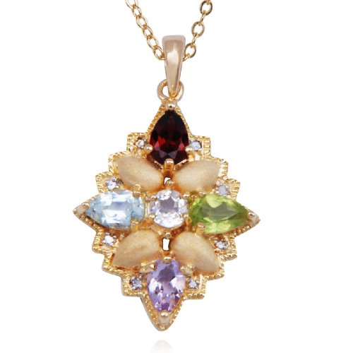 18k Yellow Gold Plated Sterling Silver Matte Finish Multi-Gemstone and Diamond Flower Pendant Necklace , 18
