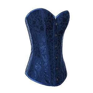 Muka Women's Blue Flower Tapestry Brocade Fashion Corset, Gift Idea
