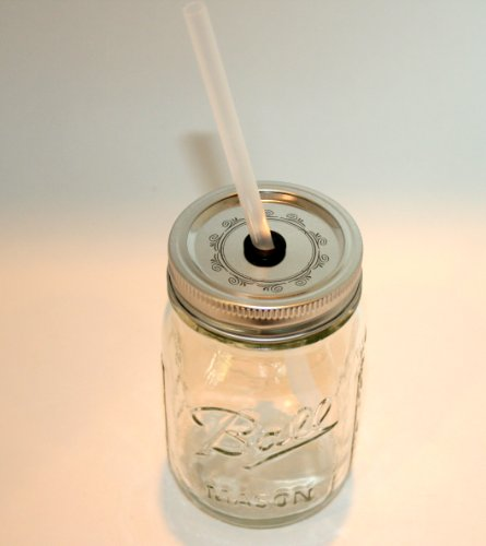 Mason Jar Lid with Reusable Straw turn your mason jar into a glass