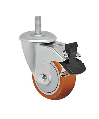 Schioppa L12 Series, GLEEF 312 UPE G, 3 x 1-1/4″ Swivel Caster with Total Lock Brake, Non-Marking Polyurethane Precision Ball Bearing Wheel, 175 lbs, 3/8″ Diameter x 1-1/2″ Length Threaded Stem