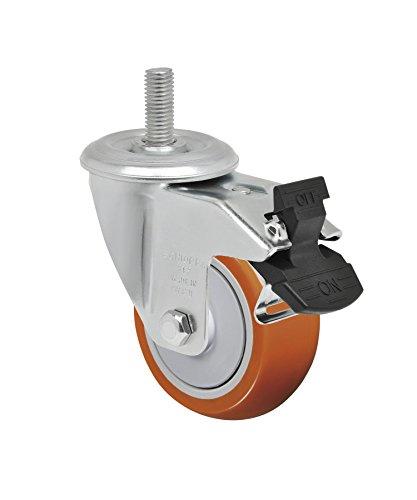 Schioppa L12 Series, GLEEF 312 UPE G, 3 x 1-1/4″ Swivel Caster with Total Lock Brake, Non-Marking Polyurethane Precision Ball Bearing Wheel, 175 lbs, 3/8″ Diameter x 1-1/2″ Length Threaded Stem