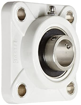 Kilian No Rust Bearing Housing Flange Unit, 4 Bolt Holes, Setscrew Lock, Relubricatable, Thermoplastic Housing