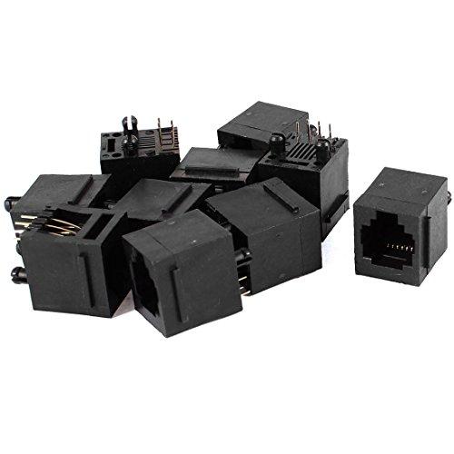 Black Plastic Rj11 6P6C Modular Pcb Jack Telephone Connectors 10 Pcs