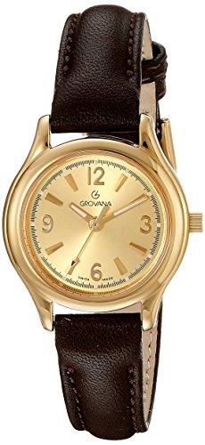 GROVANA 3207,1111 Dorado para mujer reloj infantil de cuarzo con esfera analógica y correa de piel color marrón 3207,1111