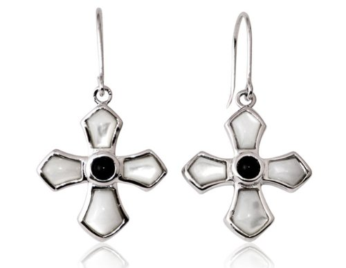 Sterling Silver, Mother of Pearl and Onyx Cross Earrings