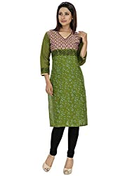 Tanvi Mehandi Cotton Straight Kurti For Women