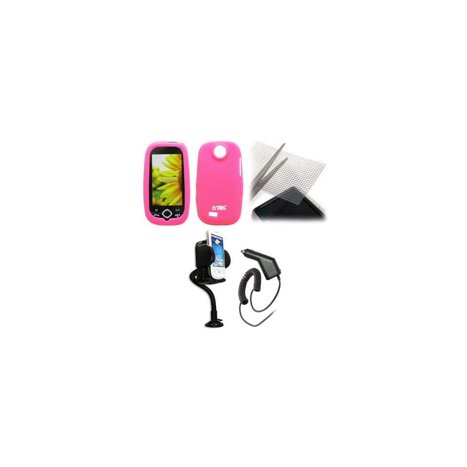 EMPIRE Hot Pink Silicone Skin Case Cover + 360 Degree Rotatable Car Windshield Mount with Air Vent Attachment + Universal Screen Protector + Car Charger (CLA) for Cricket Samsung Suede R710
